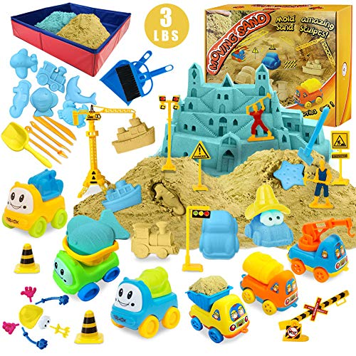 Play Construction Sand Kit - 3lbs Sand with 2 Colors, 6 Mini Construction Trucks, Construction Toys and Signs, Animal Mold, Modeling Tools, Foldable Sandbox with Clean Set Gifts for Boys Girls