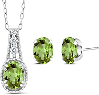 3.08 Ct Oval Green Peridot 18K Yellow Gold Plated Silver Pendant Earrings Set