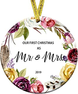Kooer Our First Christmas as Mr & Mrs Ornament 2019 Newlyweds 3