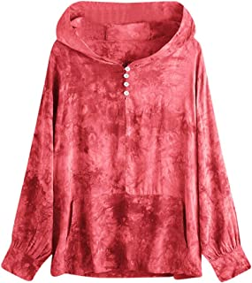 Women Tie dye Sweatshirt Casual Printing Button Long Sleeve Tops Sleeve Shirts Blouse