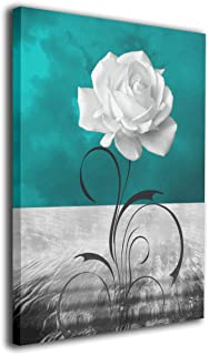 Kingsleyton Black White Teal Rose Flower Modern Prints Canvas Wall Art Paintings Wall Artworks Pictures Stretched and Framed Ready to Hang for Wall Decor Living Room Bathroom 16'' X 20''