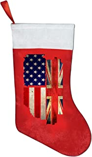 A19SDW Christmas Stockings Vintage USA Union Jack Fashion Christmas Stocking 16.5 in Red and White Felt,for Family Holiday Xmas Halloween Party Decorations,for Kids,Teens,Adults