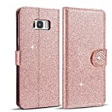 LCHULLE Rose Gold J5 (2016) Case, Glitter J5 Wallet Case,