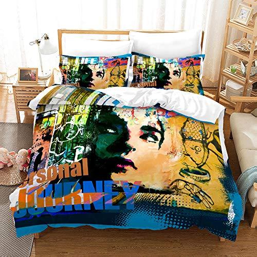 Bedclothes-Blanket Juego de sabanas Cama 90 Juveniles,3D de impresión de Tres Piezas Conjuntos de Almohada Conjuntos de Almohada Hip Hop Tenden Graffiti-2_200 * 200 cm