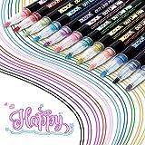 KETIEE Rotuladores Metálicos, 12 Colores Los Bolígrafos de Contorno más Nuevos, Rotuladores Magicos de Doble Línea para álbumes de recortes, Pintura, Manualidades