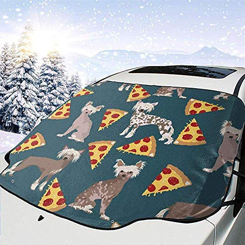 Night-Shop Chinese Crested Dog Hairless Hundefutter Pizza Cute Funny Cute Hundefutter Pizza Print Auto Windschutzscheibe Cover