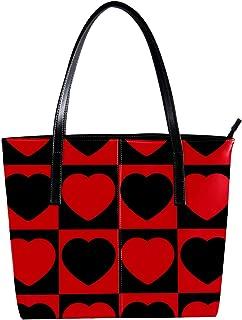 Lorvies - Borsa a tracolla in pelle sintetica con motivo a cuore d'amore nero e rosso