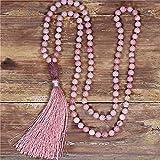 yuetong 108 perline mala tassel collana 8mm rhodonite beaded yoga yoga collana boemia meditazione collana gioielli dropship
