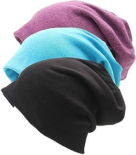 Gellwhu Unisex Cotton Beanies Soft Sleep Cap for Hairloss Cancer Chemo 3 - Pack