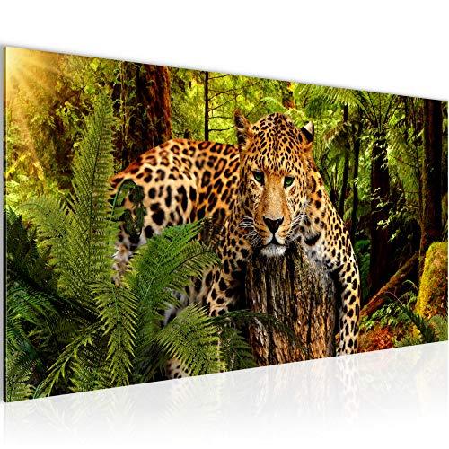 Bilder Afrika Leopard Wandbild Vlies - Leinwand Bild XXL Format Wandbilder Wohnzimmer Wohnung Deko Kunstdrucke Grün 1 Teilig - MADE IN GERMANY - Fertig zum Aufhängen 003512a