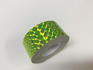 Roll of Prism Tape, Holographic 1/4'' Mosaic (1 inch x 50 ft, fluorescent yellow)