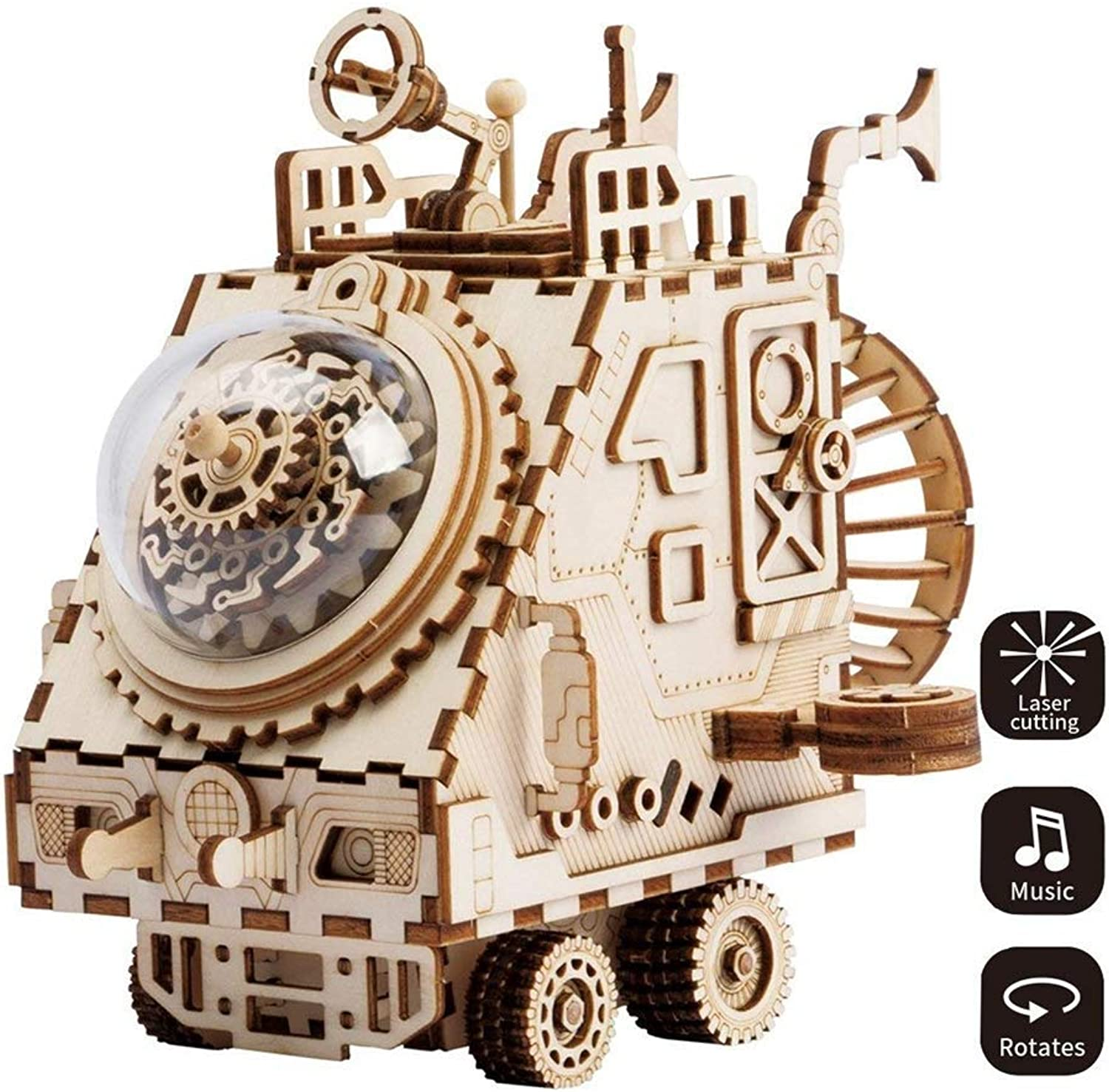 JAYE 3D DIY Wooden Puzzle Building Blocks Mechanical Transmission Toys, Space Exploration Vehicle Clockwork Music Box Kids Gift, Girls & Boys Birthday and Holiday Present