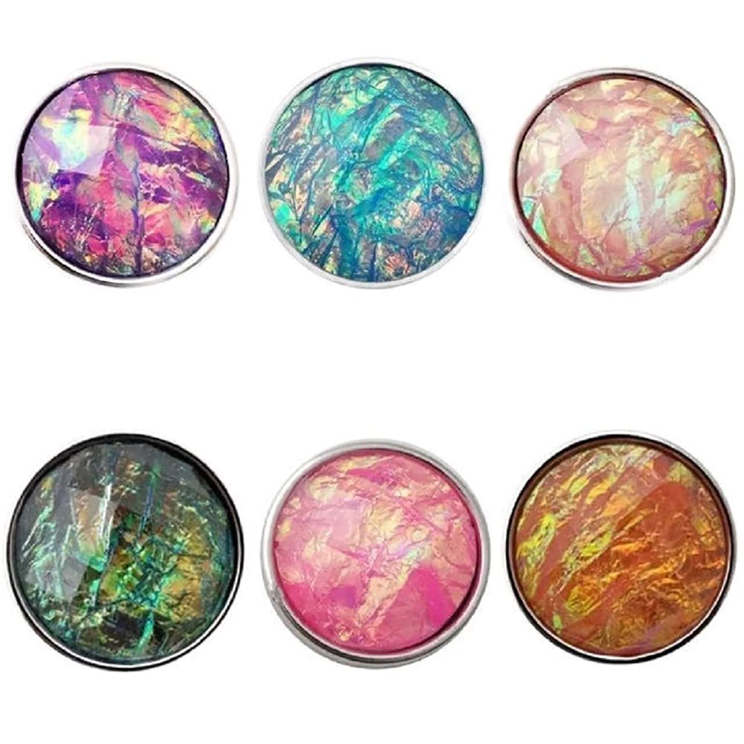 Pizazz Studios 6 Faceted Iridescent Snap Charms 18mm