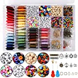 Friendship Bracelet Making Beads Kit, Letter Beads, 48 Multicolor Embroidery Floss, Seed Beads, Spacer Beads, Bracelets String Kit for Friendship Bracelets, Jewelry Making