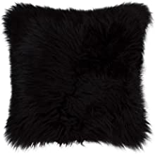 (18 in x 18 in) Natural Luxury Soft Premium Quality Durable Thick & Lush 100% New Zealand Sheepskin Fur Pillow, Black