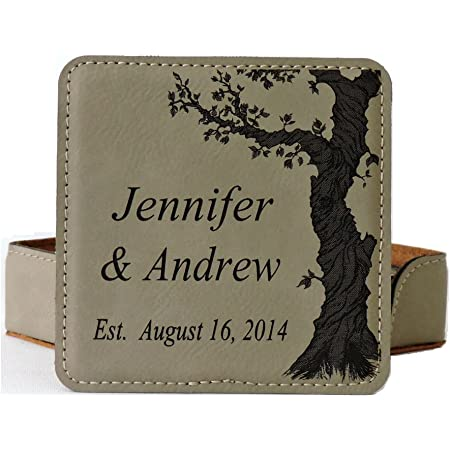 Rawhide Home Sweet Home Custom Engraved Vegan Leather Coaster Set