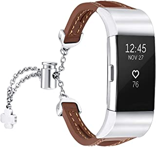 fastgo Compatible with Fitbit Charge 2 Bands, Slim Breathable Lightweight Replacement Leather Wristband Bracelet Sport Str...