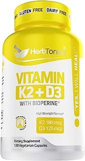 Immune System Support Vitamin K2 (MK7) with D3 5000 Iu Supplement with Bioperine (Black Pepper) 120 Vegetarian Capsules, S...
