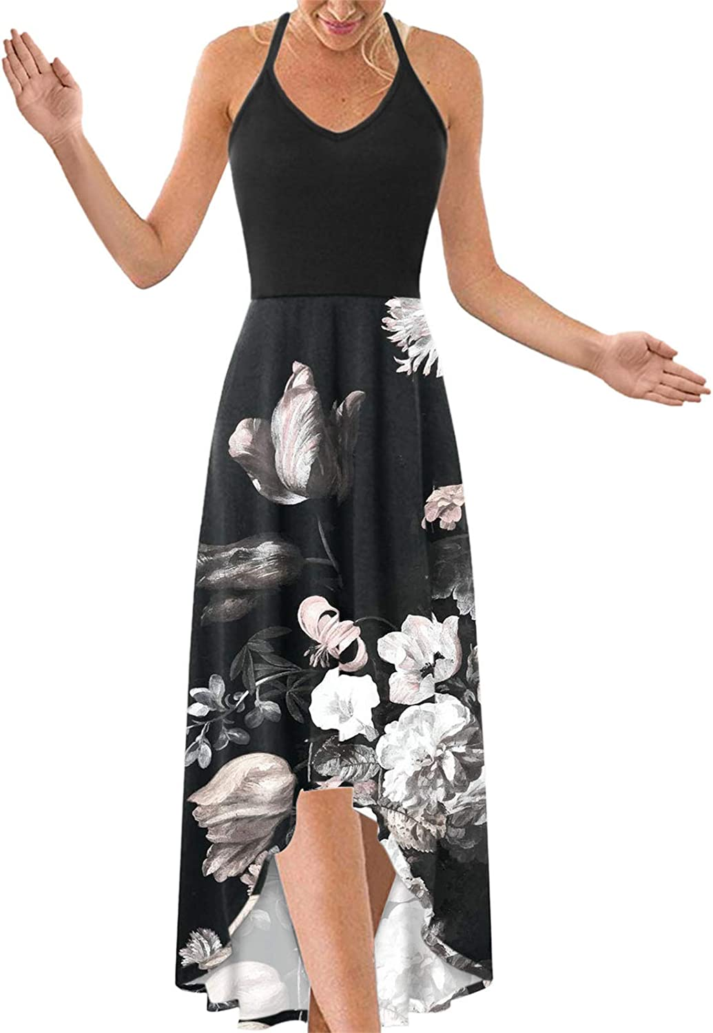 Dresses for Women Casual, Women's Fashion Casual V-Neck Sleeveless Strap Open Back Sexy Printing Dress