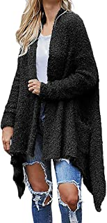 Bravetoshop Womens Maxi Cardigan Coat Chunky Long Sleeve Open Front Knit Sweater Irregular Hem Warm Outwear Overcoat