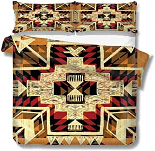 Mozenou Queen Duvet Cover Native American Inspired Retro Aztec Pattern Mod Graphic Design Boho Chic Art 100% Cotton Bedding, 1 Quilt Cover and 2 Pillowcases, Zip Closure 89x89 inch