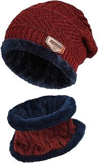ShanLiang ネックウォーマー ニット帽子 キャップ セット ビーニーキャップ 防寒 保温 運動 遠足 旅行 通勤用 スキー スポーツ アウトドア 冬 内側に暖かい綿毛 男女兼用