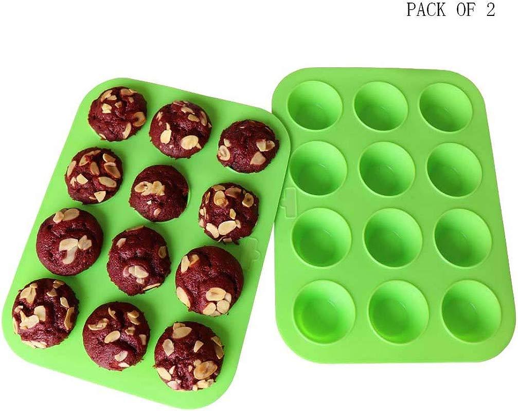 Mini Muffin Pan Silicone Mini Cupcake Silicone Molds Silicone Cupcake Baking Cups Silicone Cupcake Pan 12 Round Mini Muffin Pan Set Of 2 Packs