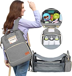 Diaper Bag with Bassinet for Baby Girl Boy Travel Portable Changing Station Backpack Organizer Insulated Pocket Baby Crib Out Bed Foldable Waterproof Convertible Multi-Functional (Gray)