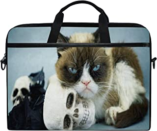 Unique Cool Cat and Skull Laptop Case Laptop Shoulder Bag Notebook Sleeve Handbag Computer Tablet Briefcase Carrying Cover with Handle 14 15inch for Men Women Travel/Business/School