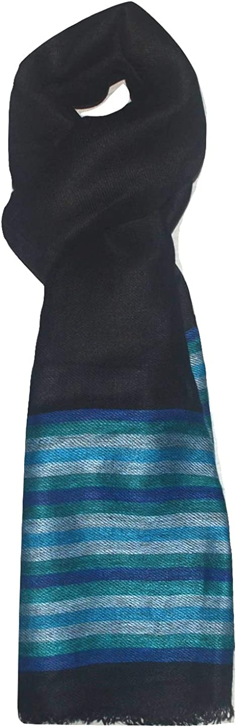 100% Pure Linen Scarf, Two Tone Stripes In Twill & Gauze, Linen Scarf.