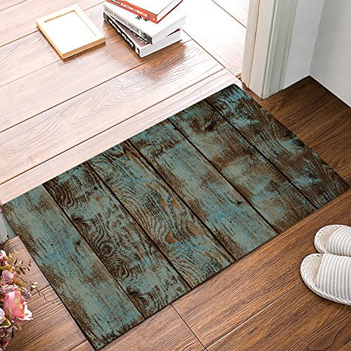 HomeCreator Country Rustic Old Barn Wood Vintage Door Mats Kitchen Floor Bath Entryway Rug Mat Absorbent Indoor Bathroom Decor Doormats Rubber Non Slip 32 x 20 Inch