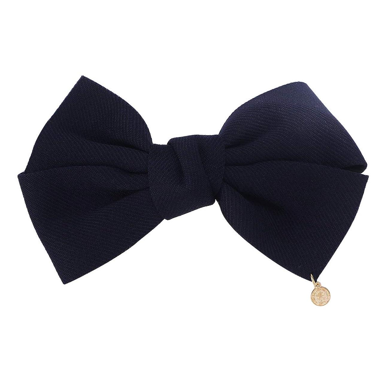 若い確立クスクスLURROSE 弓ヘアクリップ布フレンチバレットヘアピン結婚式の誕生日パーティーのためのヘアアクセサリー女性女の子(海軍)