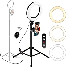 "Ring Light with Tripod Stand and Phone Holder, Megoal Selfie Ring Light 8"" Dimmable LED Circle Halo Ringlight for Live Steaming Make Up Photo Photography Vlogging YouTube Video TIK Tok"