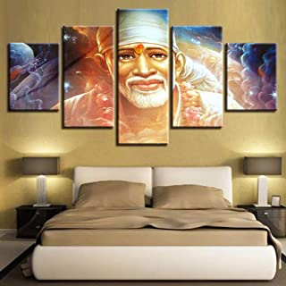IGHFVJFG Home Decor Poster Frame Modular Hd Printed Canvas 5 Pieces Sai Baba Abstract Pictures Hindu Sage Paintings Living Room Wall Art-Size3-Framed