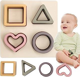 HETOMI Baby Soft Nesting Clasificación apilable Juguetes de silicona Bloques de dentición Formas Reconocimiento Aprendizaje Desarrollo Juguetes para Niño 3+ meses (Beige)