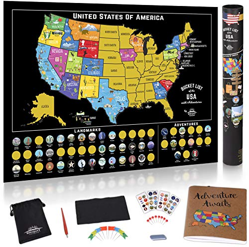 Scratch Off Map of The United States - Scratch Off USA Map Kit, 50 Pc Set, 85 Landmarks, US National...