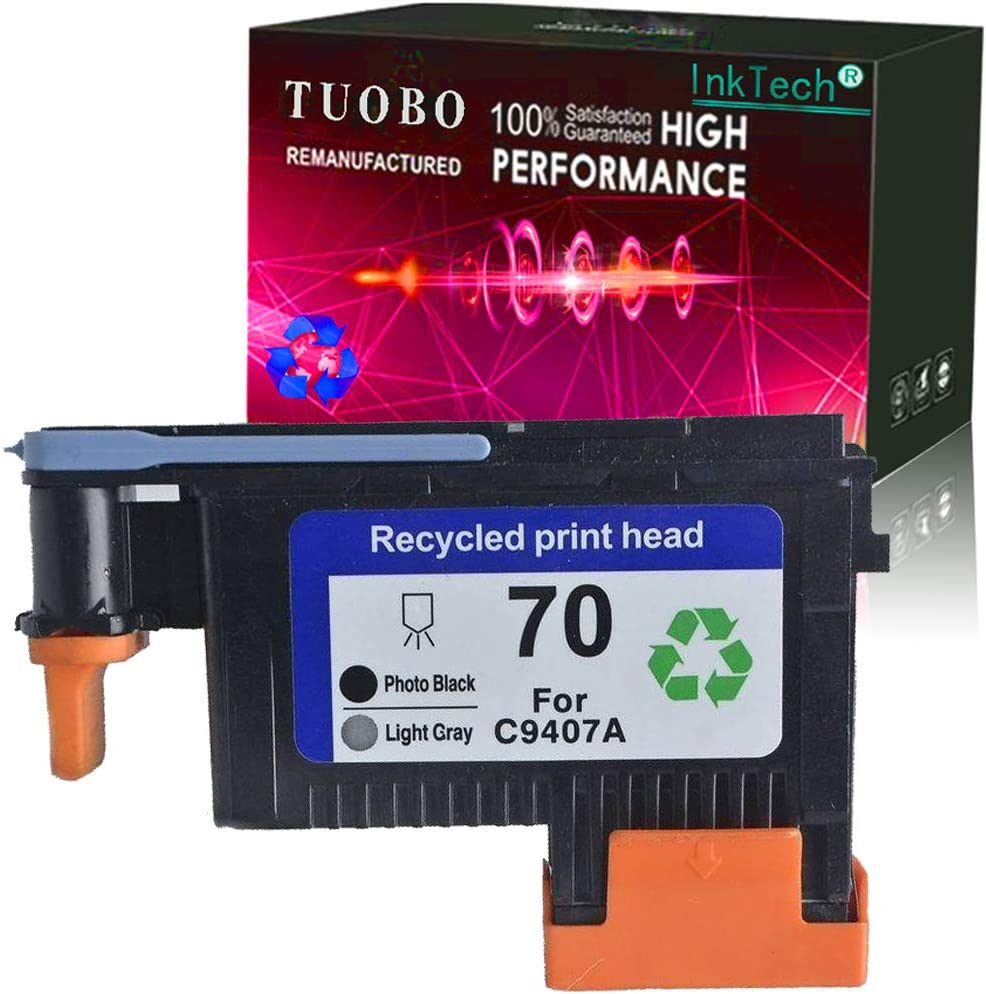 Tuobo Remanufactured 70 Print Head for 70 C9404A C9405A C9406A C9407A Compatible with Designjet Z2100 Z5200 Z3200 Z3100 Printer (Photo BK/Light Gray)