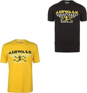 Official Brand Airwalk Running Man T-Shirt Mens Activewear Skateboarding Top Tee Yellow Small