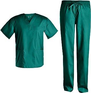 Men Basic V Neck Stretch Set - Plus Size Men Stretch Workwear Garden Work Set Top and Pants JY7301