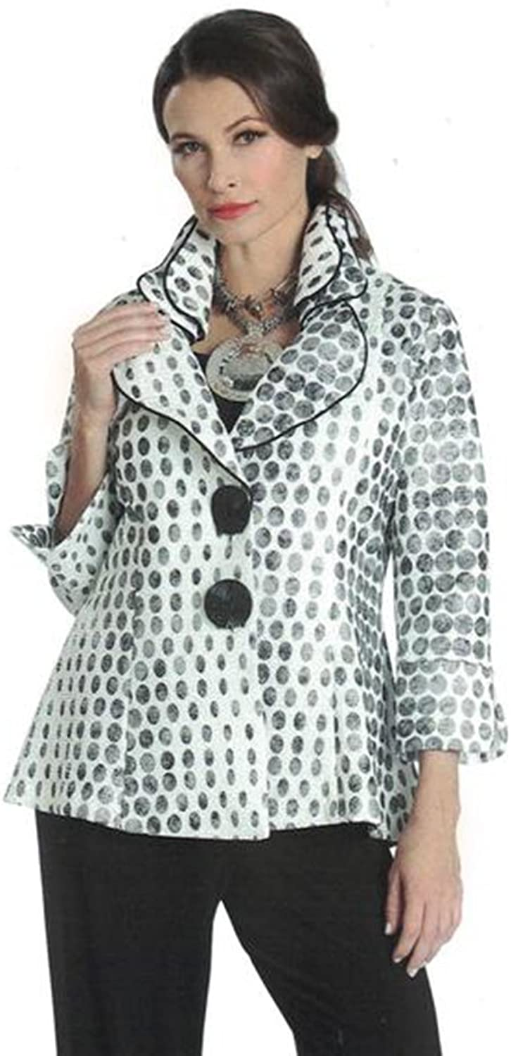 IC Collection Polka Dot Jacket with Adjustable Sculpting Collar 1089J