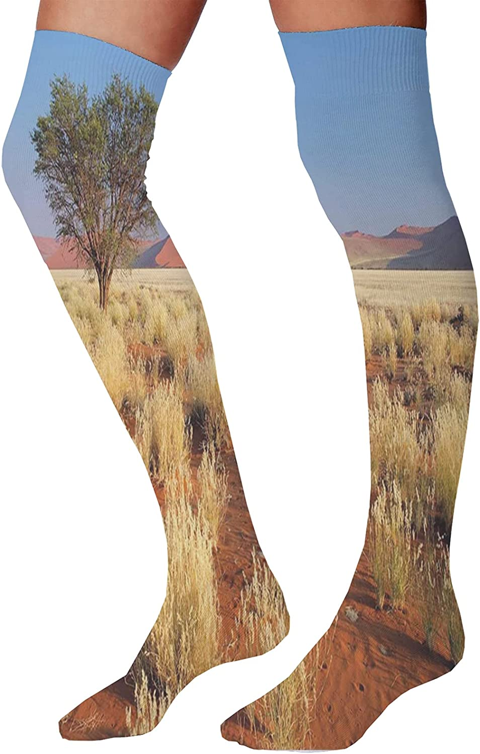 Men's and Women's Fun Socks,Absurd Illustration of Sandy Beach with Flowing Sea Waves Straw Hats and Purse