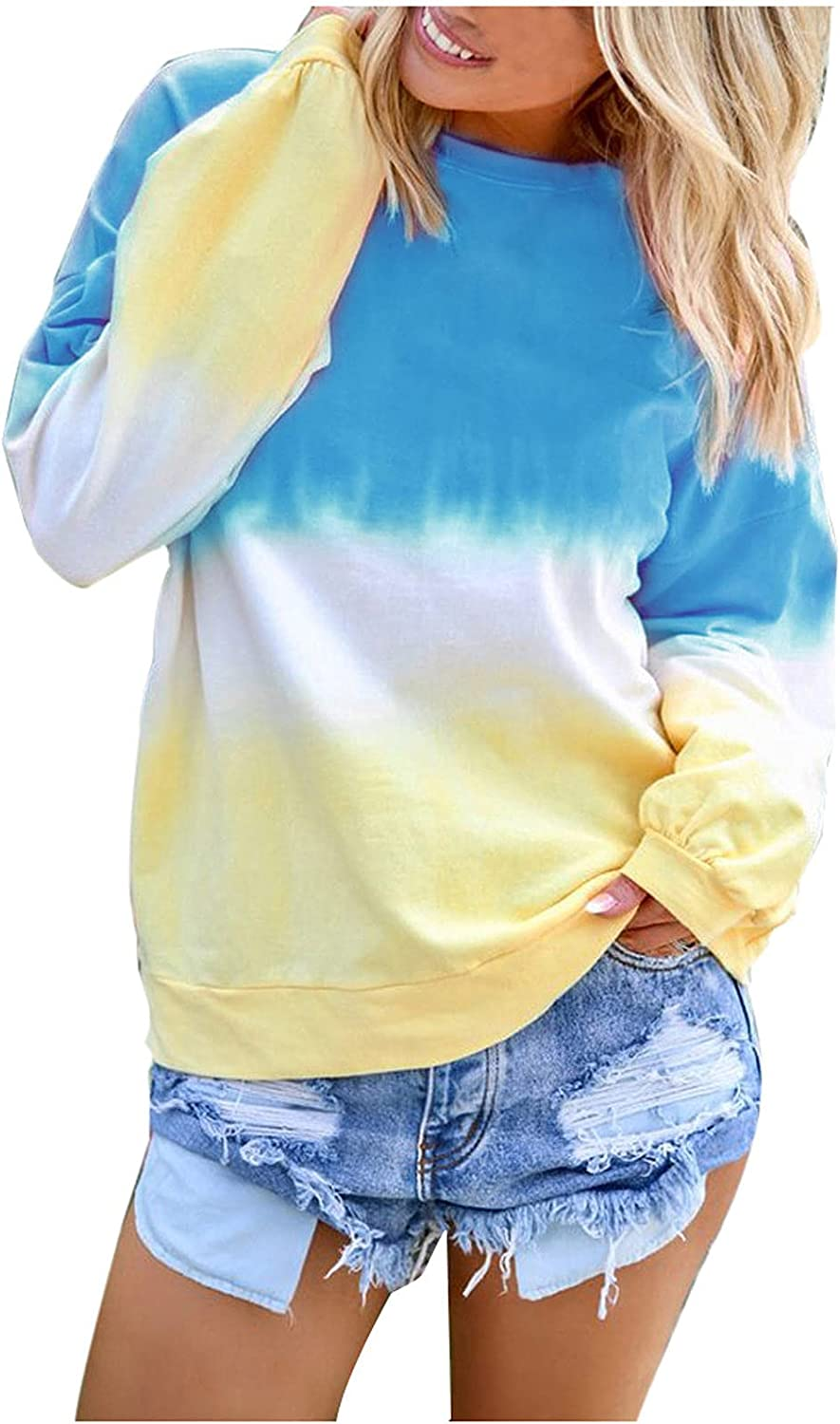 Fashion Womens Hoodies Pullover Casual Gradient Printed Blouses Tees O-Neck Long Sleeve T-Shirts Tops