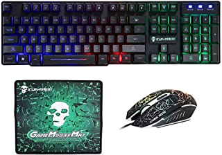 Mengshen 3 in 1 Gaming Keyboard Mouse Mousepad Combo - USB Wired, Rainbow LED Backlit Mechanical Feeling Keyboard and 6 Bu...