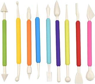 Jinlaili Outils de Modelage pour Pâtisserie, 9 Pcs Outils de Modelage Fondant, Outils de Décoration de Gâteaux, Outils de ...