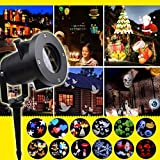 Halloween Christmas Projector Lights Outdoor, 12 Patterns Waterproof Decorations Indoor LED Light White Moving Light Snowflake Lamp for Landscape Garden Holiday Party DMZ