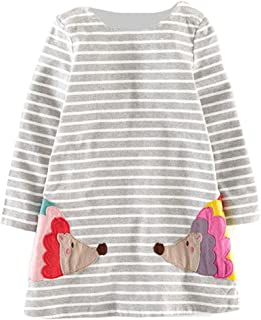Magical Baby Little Girls Spring Fall Winter Cotton Long Sleeve Striped Hedgehog Applique A-line Dress