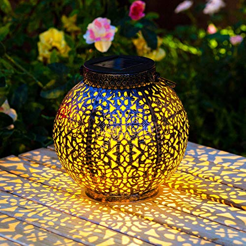 Homeimpro 2 Pack Solar Lantern Hanging Garden Outdoor Lights Metal Waterproof LED Table Lamp