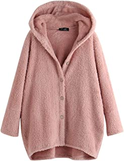 LIM&SHOP Women's Oversized Open Front Hooded Draped Cardigan Coat, Long Sleeve Soft Chunky Knit Sweater Outwear Top