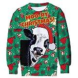 Kid Boy's Cow Sweater Ugly Christmas Sweatshirts Youth Girl's Cute X-mas Hat Gifts 3D Printing Pullover Teens Soft T-Shirts Thin Hoodies X-mas Long Sleeve Green Clothing Medium