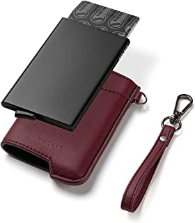 VULKIT Credit Card Holder RFID Blocking Mens Leather Wallet Pop Up Slim Bank Card Holder with Money Pocket Keychain for 7 ...